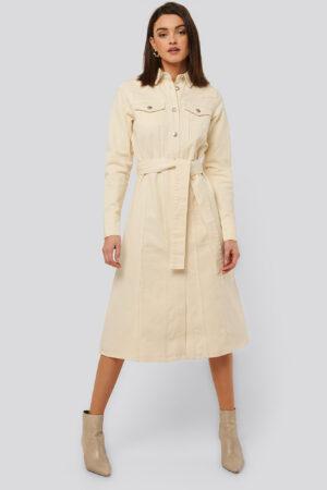 NA-KD Trend Denimklänning - Offwhite