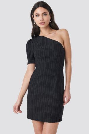 NA-KD Party One Shoulder Puff Sleeve Mini Dress - Black