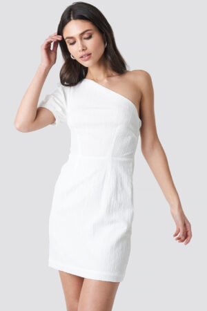 NA-KD Party One Shoulder Puff Sleeve Mini Dress - White
