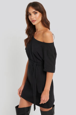 NA-KD One Shoulder T-shirt Belted Dress - Black