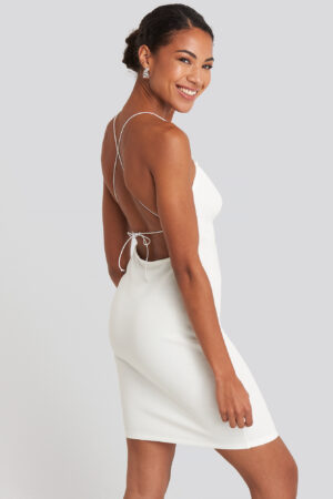 NA-KD Party Open Back Jersey Dress - White