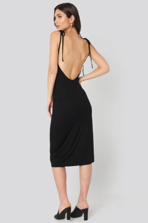 NA-KD Open Back Shift Midi Dress - Black