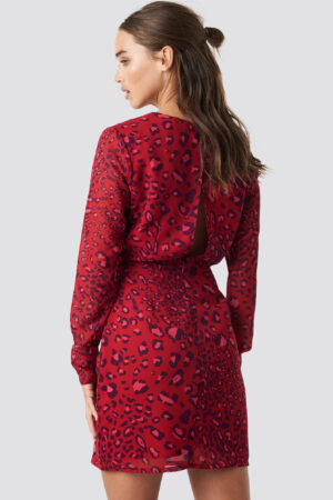NA-KD Open Back Short Dress - Red