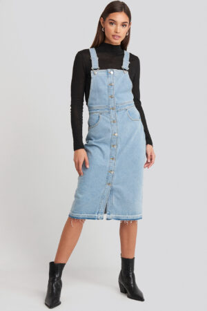 NA-KD Open Hem Denim Midi Dress - Blue