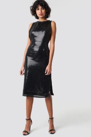 NA-KD Party Open Side Sequin Midi Dress - Black
