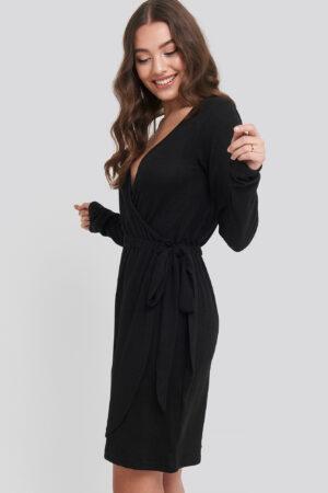 NA-KD Overlap Light Knitted Dress - Black