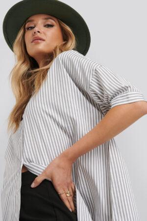 NA-KD Classic Oversized Long Striped Shirt - White