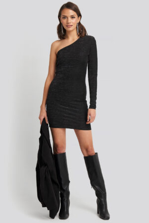 NA-KD Party Padded Glittery One Shoulder Dress - Black