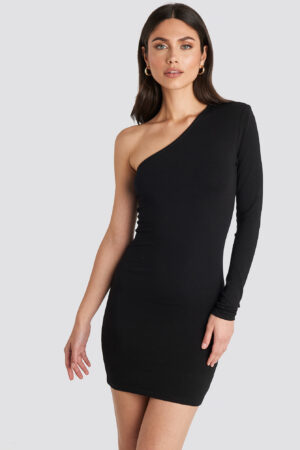 NA-KD Party Padded One Shoulder Dress - Black