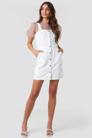 NA-KD Pinafore Mini Denim Dress - White
