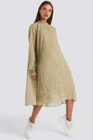 NA-KD Pleated Dotted Dress - Green