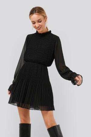 NA-KD Pleated Elastic Waist Dress - Black