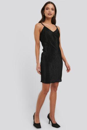 NA-KD Trend Pleated Slip Dress - Black