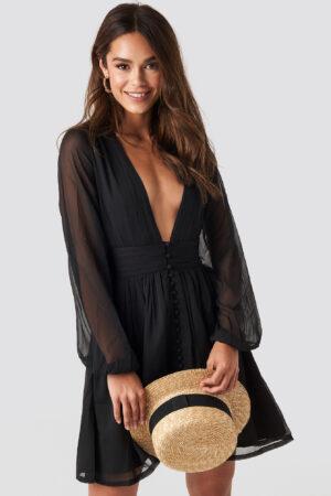 NA-KD Boho Plunge V-Neck Mini Dress - Black