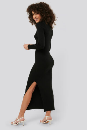 NA-KD Polo Collar Knit Maxi Dress - Black