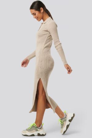NA-KD Polo Collar Knit Maxi Dress - Beige