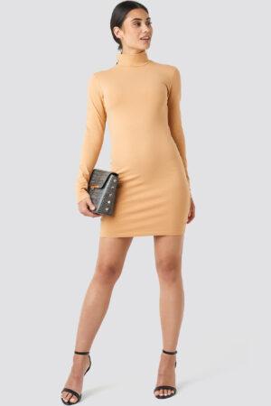 NA-KD Basic Polo Neck Dress - Beige
