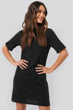 NA-KD Basic Polo Neck T-shirt Dress - Black
