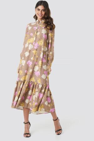 NA-KD Trend Printed Maxi Dress - Brown