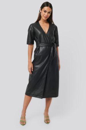 NA-KD Trend Soft PU Overlap Midi Dress - Black