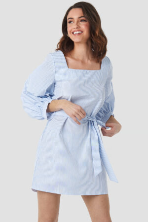 NA-KD Trend Puff Sleeve Square Neck Tie Dress - Blue