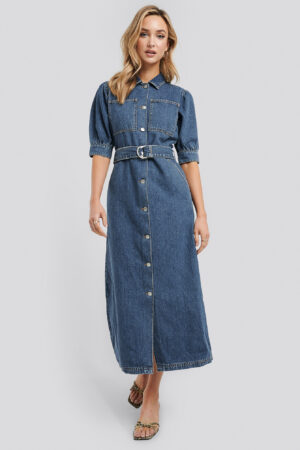 NA-KD Trend Puff Sleeve Belted Denim Dress - Blue