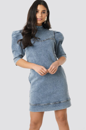 NA-KD Trend Puff Sleeve Denim Mini Dress - Blue