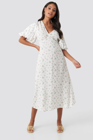 NA-KD Boho Puff Sleeve Floral Midi Dress - White