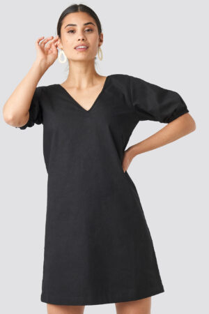 NA-KD Puff Sleeve Mini Dress - Black