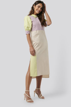 NA-KD Trend Puff Sleeve Panel Dress - Multicolor