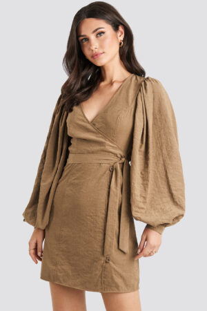 NA-KD Trend Puff Sleeve Tie Waist Dress - Brown