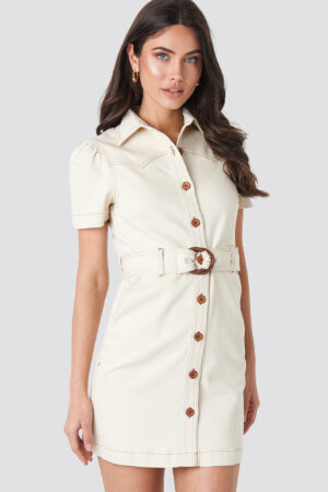 NA-KD Trend Puff Sleeve Western Denim Dress - Beige
