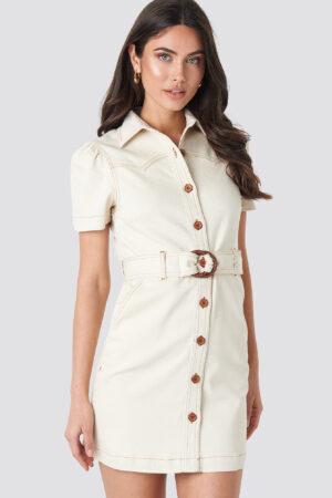 NA-KD Trend Puff Sleeve Western Denim Dress - Beige