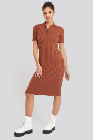 NA-KD Rib Knitted Midi Dress - Orange