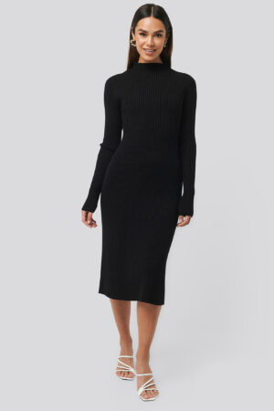 NA-KD Trend Ribbed Knitted Polo Dress - Black