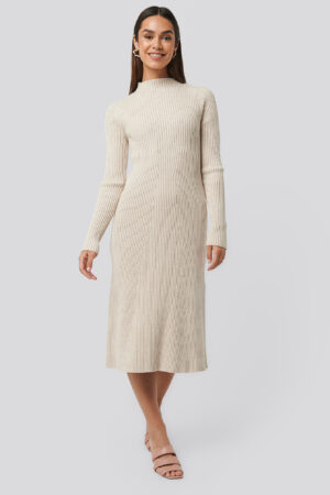 NA-KD Trend Ribbed Knitted Polo Dress - Beige