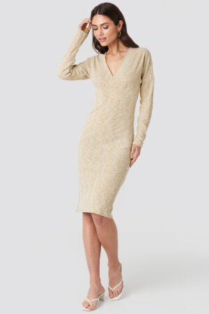 NA-KD Trend Ribbed V-front Over The Knee Dress - Beige