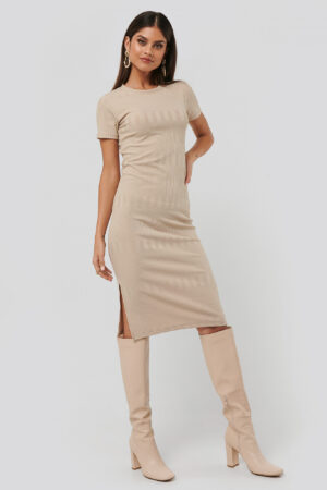 NA-KD Round Neck Knit Dress - Beige