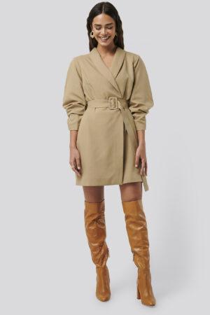 NA-KD Classic Rounded Sleeve Blazer Dress - Beige