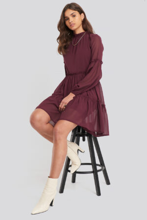 NA-KD Ruffle Detail Chiffon Dress - Red