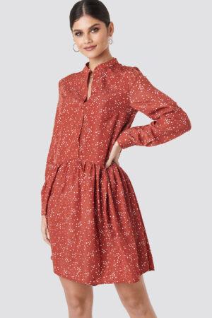 NA-KD Boho Ruffle Hem Dot Dress - Red