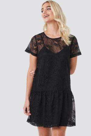 NA-KD Party Ruffle Hem Lace Mini Dress - Black