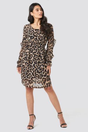 NA-KD Ruffle Sleeve Dress - Brown