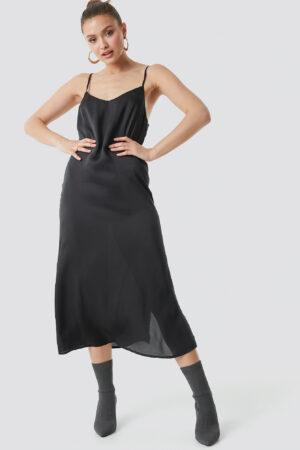 NA-KD Satin Slip Dress - Black
