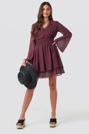 NA-KD Boho Shirred Waist Detail Dress - Purple