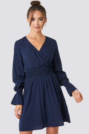 NA-KD Boho Shirred Waist Wrap Mini Dress - Blue