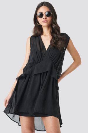 NA-KD Short Chiffon Dress - Black