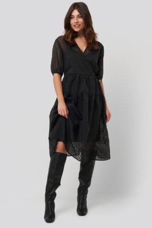 NA-KD Trend Short Puff Sleeve Wrap Dress - Black