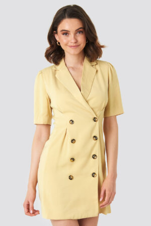 NA-KD Classic Short Sleeve Blazer Dress - Yellow