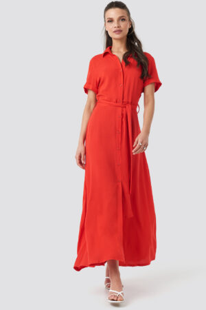 NA-KD Short Sleeve Maxi Dress - Red